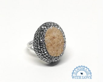 7cff3a36a Hand Made 925K Sterling Silver Ragged Natural Cut Druzy Jasper, Marcasite,  Swarovski Stone Antique Style Jewelry Woman Ring