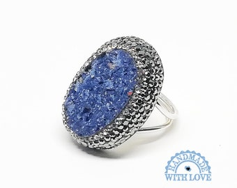 64dff30bc Hand Made 925K Sterling Silver Ragged Natural Cut Druzy Lapis Lazuli,  Marcasite, Swarovski Stone Antique Style Jewelry Woman Ring