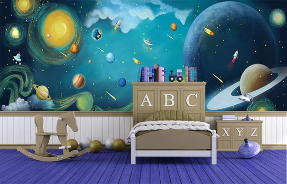 fantastic space kids wallpaper baby bedroom wall mural self adhesive wall  paper planet theme wall decor for children bedroom wall poster