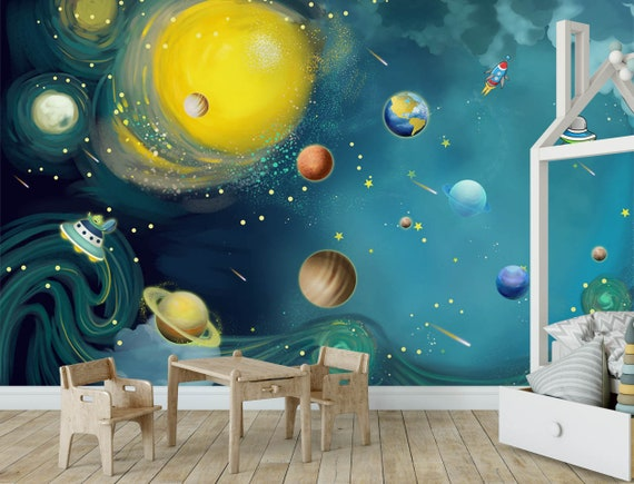 Blue space wallpaper kids bedroom wall mural Peel and Stick solar system  planet nursery wall paper removable playroom wall decor poster