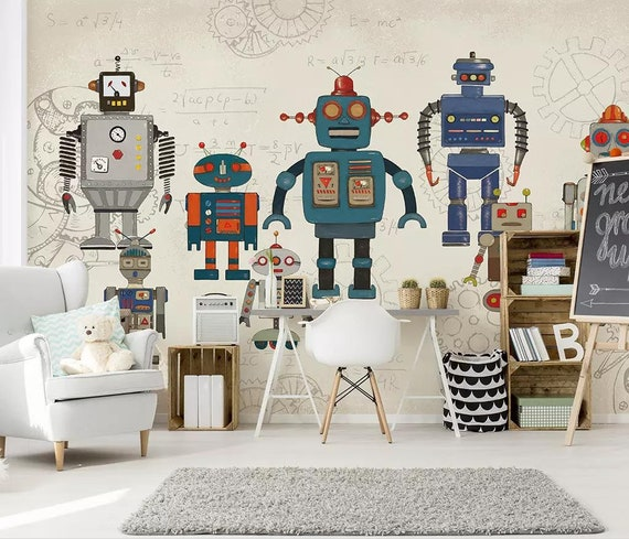 Robot With Formula Backgound Kids Wallpaper Boys Bedroom Wall Etsy