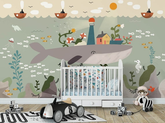 Whale island kids wallpaper mural Peel and Stick undersea nursery wall  decor baby bedroom wall paper removable playroom wall poster