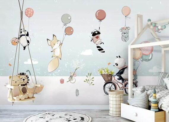 Jungle Safari Animals Balloon Kids Wallpaper Boys Bedroom Wall Mural Self Adhesive Nursery Wall Paper Removable Playroom Wall Decor Poster
