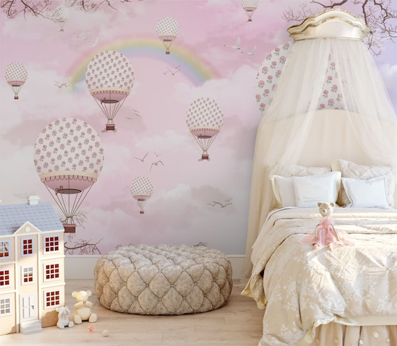 pink sky with rainbow wallpaper for girls bedroom removable kids wall paper  rose pattern hot air balloon wall mural baby nursery decor