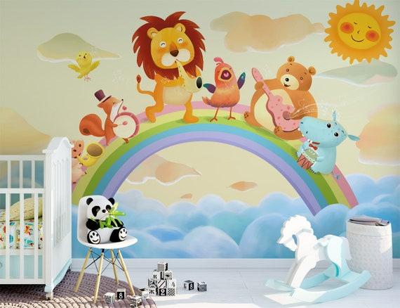 Jungle musician wall mural for nursery rainbow clouds baby bedroom  wallpaper decor removable kids wall decal wall sticker poster