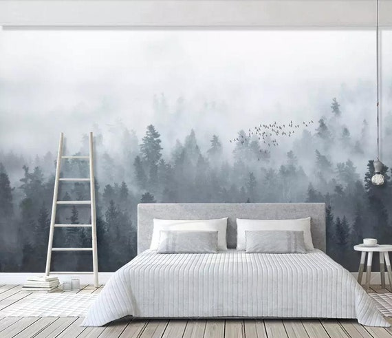 Foggy Mountain Wallpaper Removable Misty Forest Wall Mural For Home Bedroom Tree Wall Art Decal