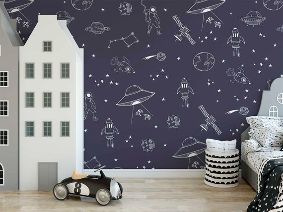 fantastic space theme wallpaper starry space on dark blue wall paper kids wall decor removable fabric wallpaper Self Adhesive boys wallpaper