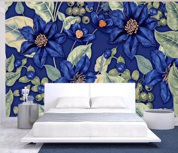 blue floral wallpaper exotic flower wall paper dark botanic etsy rh etsy com