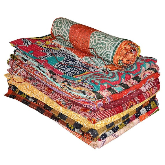 Reversible Vintage Kantha Quilts WHOLESALE LOT 15 PC Heavy Gudri Throws Blankets