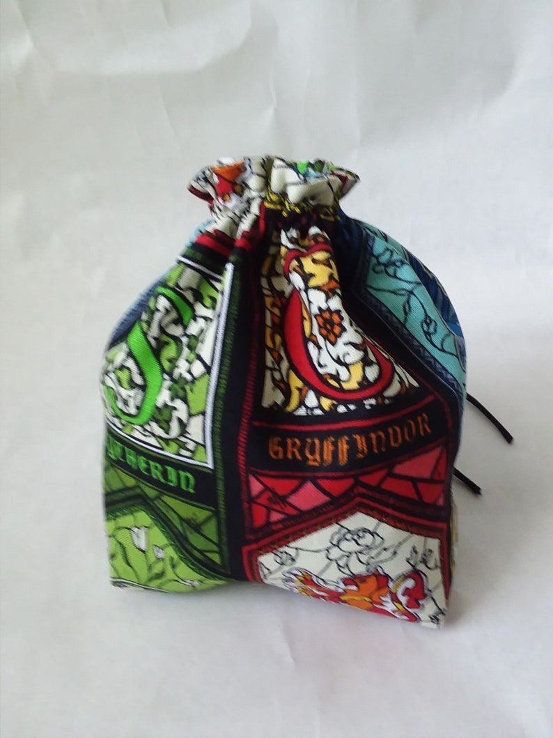 Harry Potter Stained Glass House Windows Square bottom dice bag