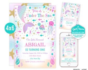 Mermaid Birthday Invitation Party Under The Sea 4x6 EDIT NOW Id 10900