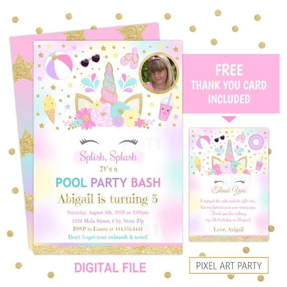 Personalised Unicorn Party Invitations ou vous remercier notes x 5