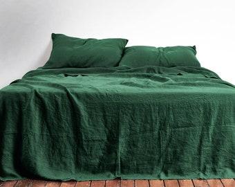 967126778d68 3-Piece Linen Bedding Set. Emerald Green. Linen duvet cover, 2 pillowcases.  US Full, US Queen, US King, Euro size, Ikea size