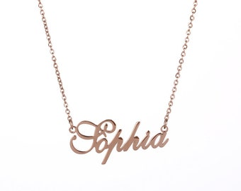 rose gold name necklace etsy