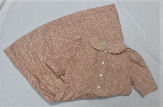 Vintage 1960's Flannel Calico Print Dress - Size M