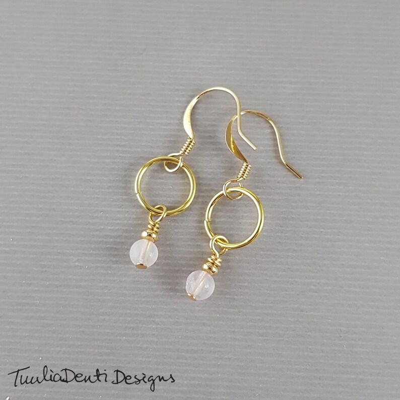Rose quartz charm earrings pink gemstone drop hoop earrings birthday gift