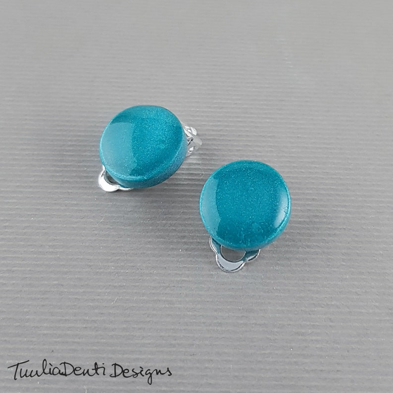 Teal clip on earrings teal blue disc earrings hypoallergenic earrings 14 mm minimalist clips