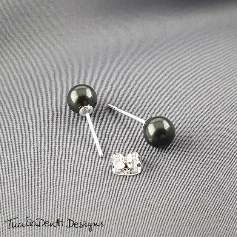 6mm natural shell pearl earrings 925 sterling silver stud earrings Black pearl stud earrings birthday gift