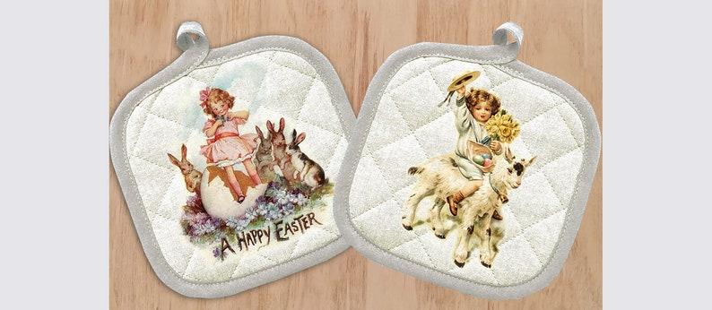 Potholder Vintage Print 621-0012 Pot Holder with Cute Little Girl with Bunny and Goat Easter Celebration