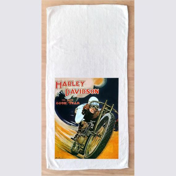 Tea Towel 611-051 Microfiber Towel With Vintage Image Vintage Ads Bikes Harley Davidson