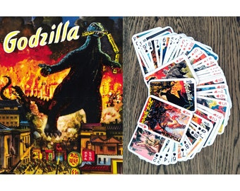 GODZILLA Playing Cards (Poker Deck 54 Cards All Different) Vintage Movie Poster Horror Monster Kaiju 651-001