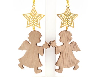 "Earrings ""Angels"" made of wood and metal"