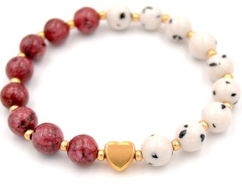 """Charming bi-color beaded bracelet """"Love you"""" with gold heart in gift box - Great gift for her"""