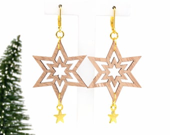 """Earrings """"Holly Jolly"""" made of wood and metal"""
