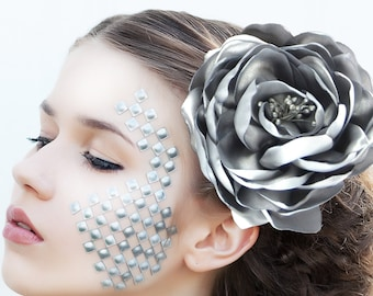 """Hair blossom """"Silver"""" - hair clip with rose"""
