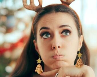"Earrings ""Christmas Tree"" Gold Christmas Tree Earrings made of wood and metal"