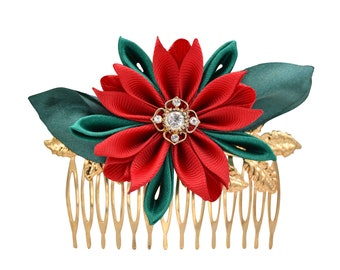 """Hair comb """"Poinsettia"""" Christmas hair decoration for the updo hairstyle"""
