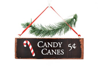 """Decoration sign for Christmas """"Candy Canes"""" - hand painted wall decoration for living room or kitchen"""