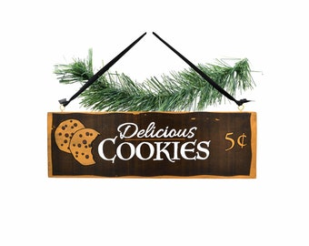 """Decoration sign for kitchen """"Delicious Cookies"""" - hand-painted door sign in vintage look"""