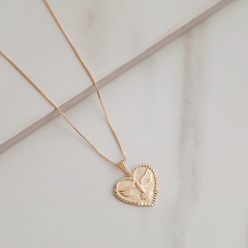 Heart Pendant Dove Spirit Necklace 18K gold filled Saint Necklace Religious Coin Necklace Holy Spirit Necklace 18kt Gold Filled Gold