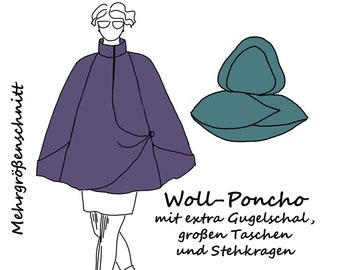 Lagenlook Poncho mit extra Gugel Kapuze Schnittmuster e-book Umhang Cape Wolle zwei Größen pdf