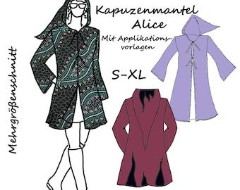 Schnittmuster Kapuzenmantel e-Book Nähanleitung Goa Hippie Hood Robe Zipfelkapuze Schnitt Applikationen Fleece-Mantel selbst nähen