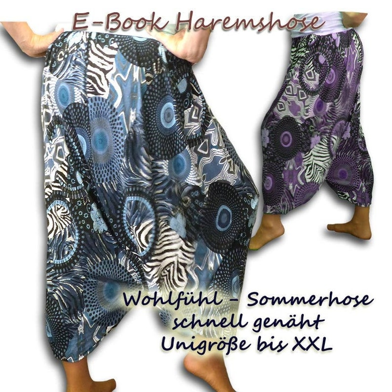 Haremshose Schnittmuster Pluderhose n\u00e4hen Aladinhose Goa Yoga Hose e-book Sommerhose weit