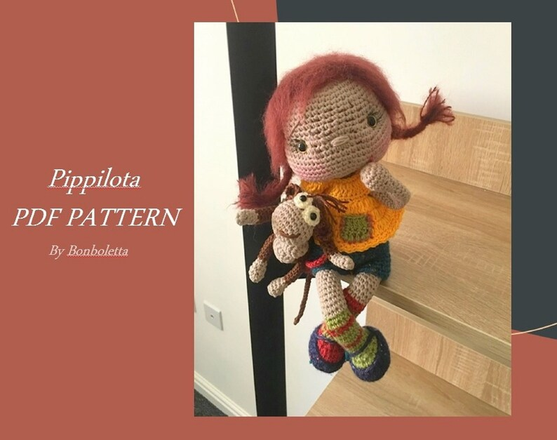 Pippi Longstocking doll PDF DOLL PATTERN  crochet Pippilota image 0