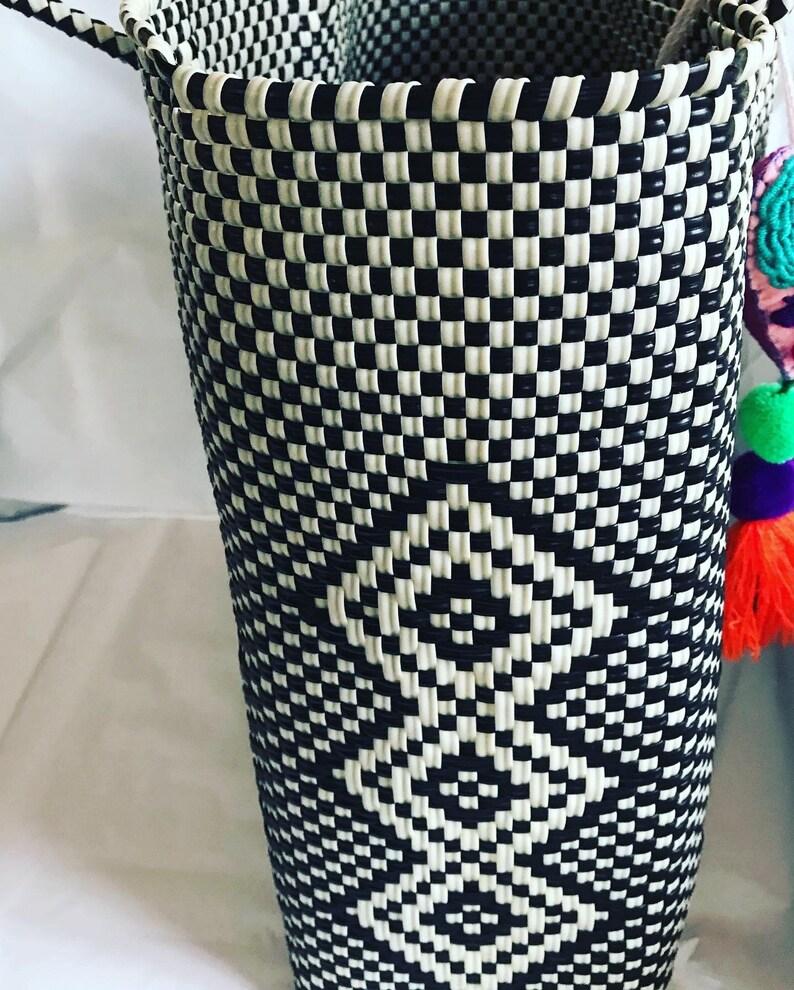 Oaxaca Handwoven Plastic Tote off white Black Heart Pompom