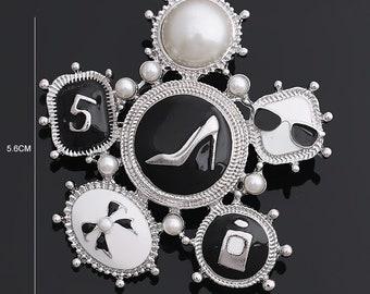 f7b485b9f Women's Enamel Heel Perfume Bow Vintage Brooch Pins in Silver Tone