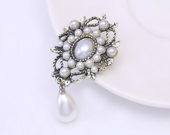 b87b6333b Vintage Style Simulated Pearl Drop Brooches for Women in Antique Gold Color
