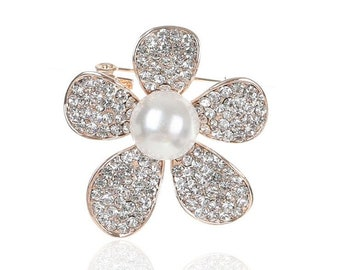 b98a5de97 Shiny Rhinestone Crystal Pearl Flower Brooches Pins For Women. for  weddings, parties, prom