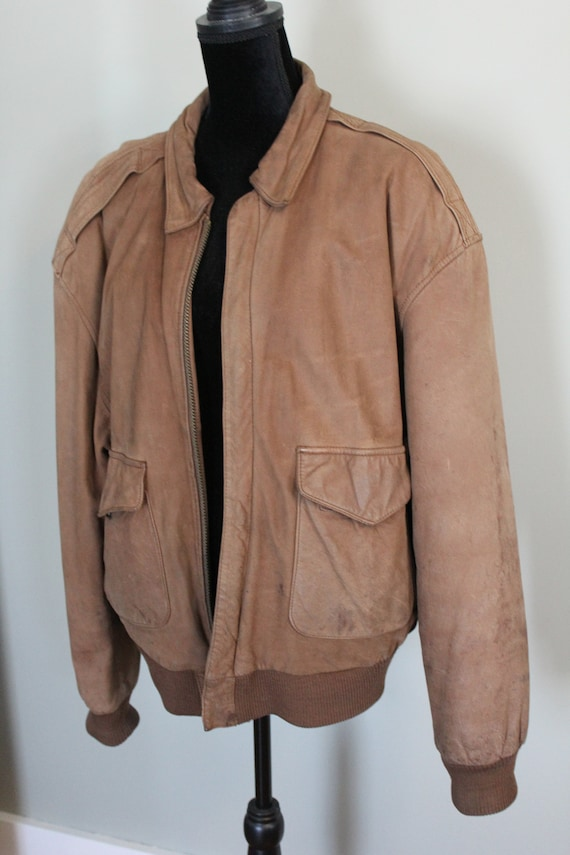 Vintage Leather Indiana Jones style Bomber Jacket