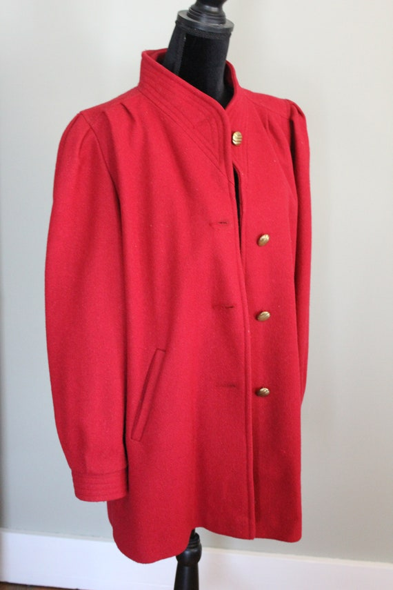 Vintage Red Women's Wool Outer Coat