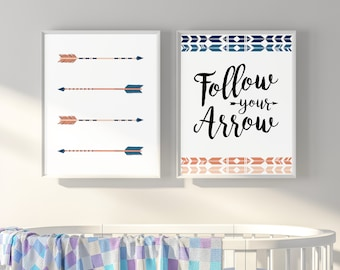 Follow Your Arrow Wall Art, Printable Tribal Nursery Wall Art, Set Of 2  Prints, Nursery Decor, Boho Decor Bedroom, Pink, Indigo, Girl Gift