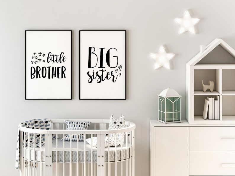 Big Sister Little Brother Wall Art, Brother And Sister Room Decor, Siblings  Art, Shared Room Ideas, Kids Room Signs, Nursery & Bedroom Decor