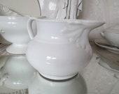 FRANCE Antique enchanting jug RELIEF white glazed Acanthus ceramic jug washing jug can old ceramic ancient brocante France