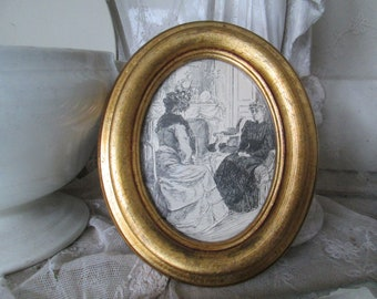 FRANCE Old small oval golden wood frame with glass about 16 x 13 cm wall decoration Vintage country house Brocante Photo Gold leaf wall decoration