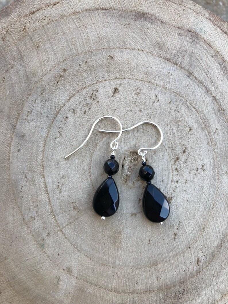 I M P A C T  Black Onyx Teardrop Earrings  Black Pear shape image 0