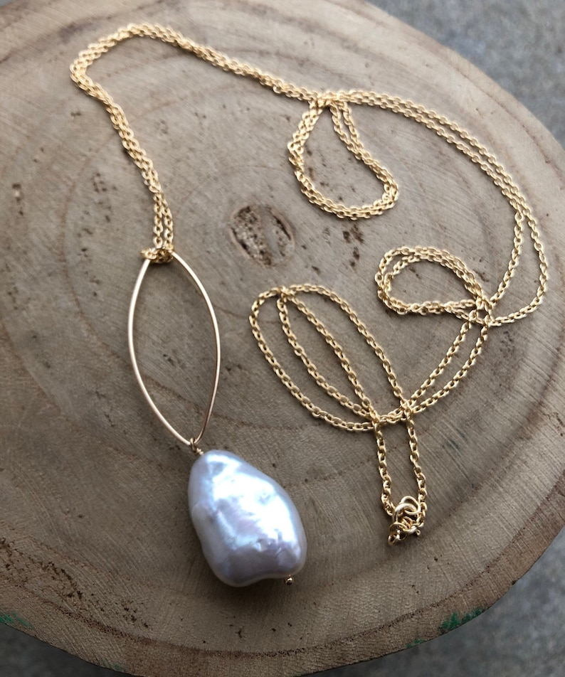 D E L I G H T  Freshwater Pearl long necklace  pearl jewelry image 0
